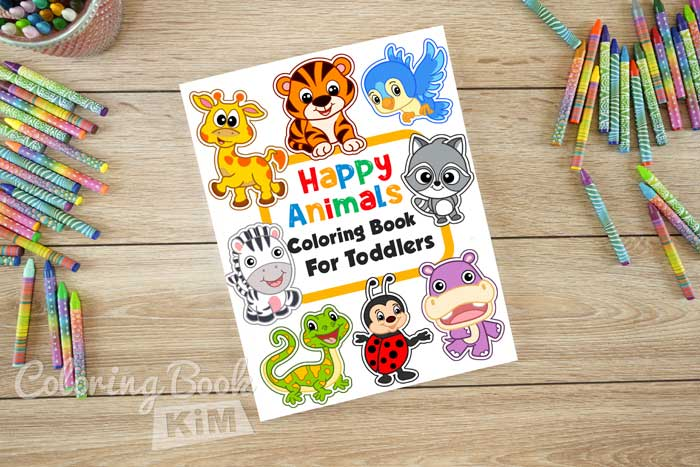 Happy Animals Coloring Book For Toddlers - 100 Funny Animals.